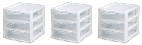 Drawers Sterilite Storage (Sterilite 20938003 Wide 3 Drawer Unit, White Frame with Clear Drawers, 3-Pack)