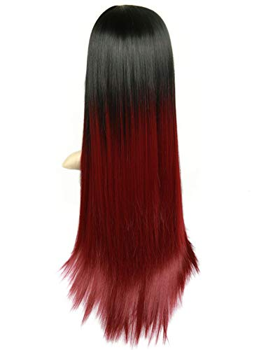 Minyu High Density Heat Resistant Synthetic Fiber Straight Wigs For Women Pink/Grey/BUG Glueless Cosplay Natural Hair Wig-in Synthetic None,T1B/Burgundy,26inches]()