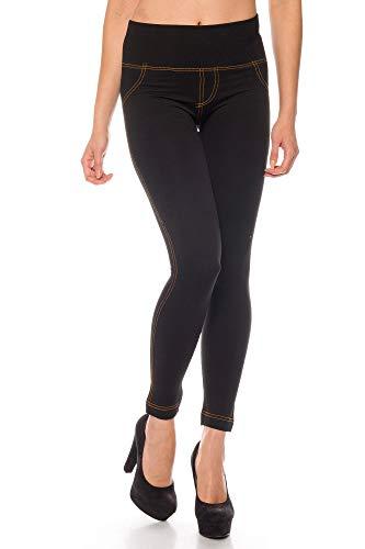Kendindza leggings thermiques pour femmes effet jeans style doublure intérieure en polaire Basicque Opaque