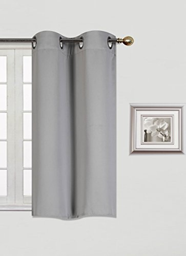 GorgeousHomeLinen (K30) 1 Panel 30″ Wide X 36″ Lenght Silver Grommets Window Curtain Unlined Thermal Heavy Thick Insulated Blackout in Assorted Solid Colors (SILVER GREY)