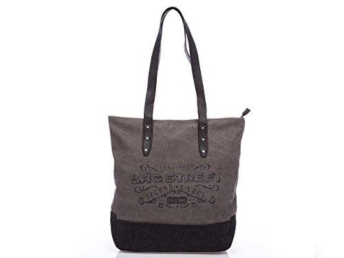 Damentasche tasche damen schultertasche Handtasche Umhängetasche Shopper bag canvas grau