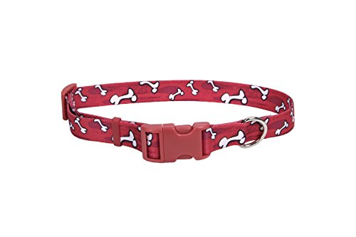 Pet Attire Styles Red Bones Print Adjustable Dog Collar Size from 18 to 28 Inches with a Width of 1 in.