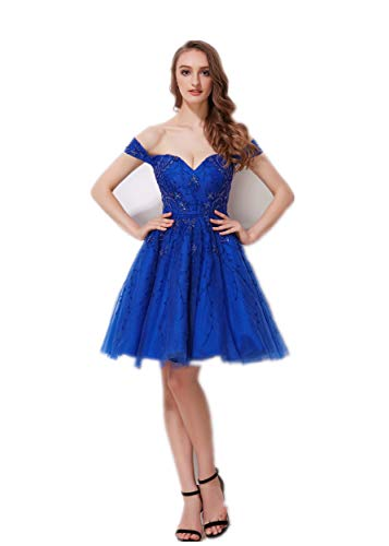 Jadore Evening Off Shoulder Sweetheart Beaded Bodycon Dress A-Line Short Skirt Prom Wedding Homecoming Party Gown, Royal Color, Size 4
