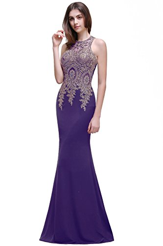 Women's Sheer Lace Illusion Back Bridal Prom Evening Dress,Purple,Size 12 (Purple Masquerade Dresses)