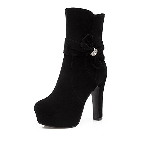 Boots Heels AmoonyFashion Toe Black Closed Solid Zipper High Round Women's Frosted OO4qzwg