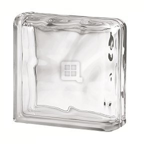 Quality Glass Block 7.5 x 7.5 x 3 Basic Wave Double End Block