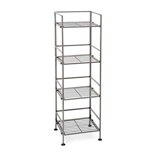 (Seville Classics 4-Tier Iron Slat Tower Shelving, Pewter, Satin)
