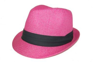 Pink Fedora Hat (The Hatter Co. Tweed Classic Cuban Style Fedora Fashion Cap Hat, Hot Pink)