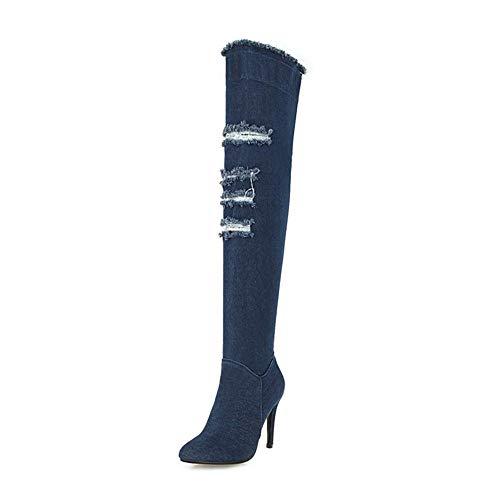 Saleplus 33 La Zapatos Botas Fur High Piel Heels Darkblue Size Marca Mujer Hoesczs De Rodilla Invierno Hot 2018 Without Thin 48 Agregar Hasta wqtTT4Xxv
