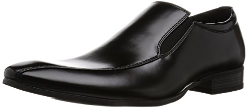 MM/ONE Mens Slip On Side Gore Bicycle Toe Leather Feel Loafer Black Brown Black Cq90TDu