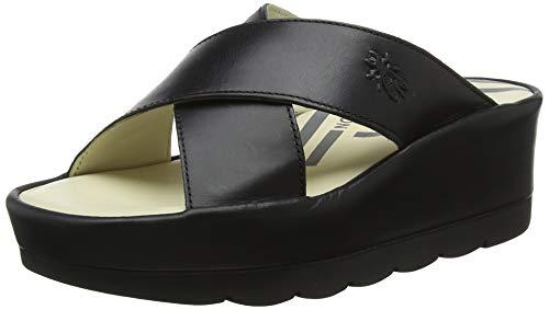(FLY London Women's BEGS793FLY Slide Sandal Black Rug 39 M EU (8-8.5)