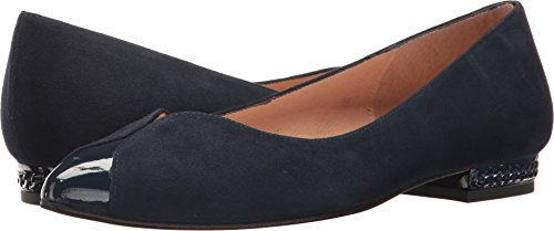 French Sole Womens Zigzag Navy Suede/Patent TEyIddf