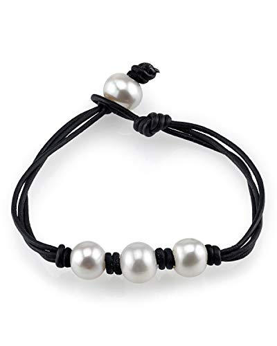 THE PEARL SOURCE 10-11mm Genuine White Freshwater Cultured Pearl Black Leather Daisy Bracelet for Women