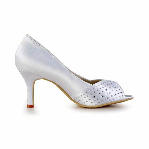 Minitoo - Sandalias de vestir para mujer White-8cm Heel