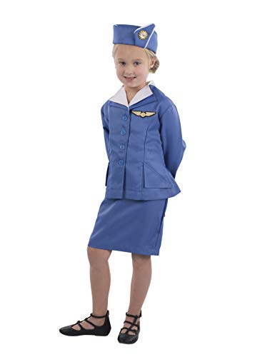 Dress Up America Retro Stewardess Flight Attendant Costume for Girls (S)]()