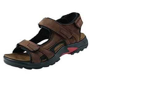 Plage Sandales en cuir pour homme Marron Velcro crochet et boucle Chaussures d'extérieur pour homme, Marron - marron, 40