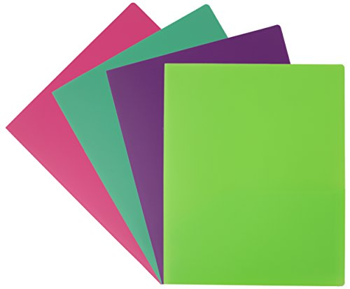 Plus Poly Portfolios (Emraw Laminated Fashion Neon Colors 2 Pocket Poly File Portfolio Folder – Used for Papers, Loose-Leafs, Business Cards, Compact Discs, Etc. (4-Pack))