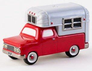 (One Hundred 80 Degrees Pickup Camper Ceramic Salt and Pepper Shaker Set)