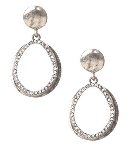 Mixed Styles Street Glam Thick Chunky Worn Silver-Tone w/Clear Rhinestones Teardrop Earrings Post Back ()