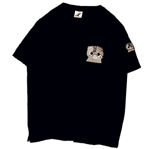 [XINXIKEJI]夏服 男女兼用 プリントTシャツ ボトムシャツ レディース tシャツ ゆったり 丸首 刺繍 猫柄 インナー ロックtシャツ 親友服 無地 半袖 大きいサイズ 修身 カジュアル シャツ ゴルフウェア 通勤 観光 通学 日常用