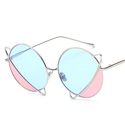 Sunglasses Double colors Sun Glasses Women Driving Metal Planet shape ()