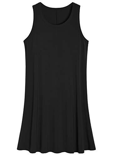 Latuza Women's Sleeveless Nightgown Scoop Neck Sleep Tank Dress 3X Black
