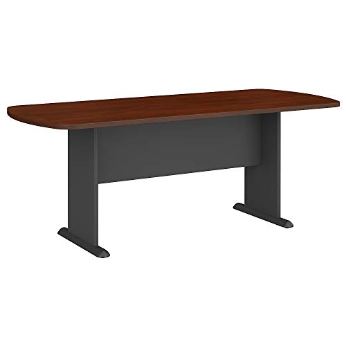 Bush Business Furniture Series A & C 79W x 34D Racetrack Oval Conference Table in Hansen Cherry