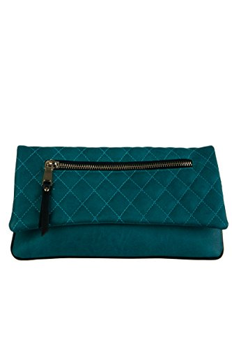 lcolette Quilted Flap Over Front Zipper Accented Clutch With Strap 15812 (Accented Front Flap)