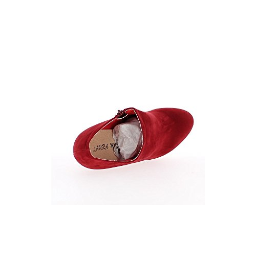 Bottines rouges talon de 14cm avec plateau et fermeture éclair