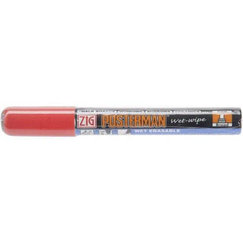 Zig 6mm Posterman Broad Tip Wet Wipe Marker, Red