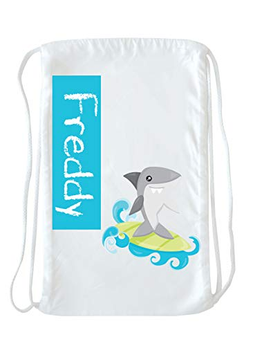 Shark Tote Bag for Kids - Personalized Drawstring Bag Pack for Boys, Shark Bag, Kids Swim Bag and Pool Bag, Personalized Beach Bag for Kids, Cinch Bag and Beach Bag for Boys, Beach Bag for Boys