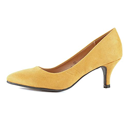 Guilty Shoes Womens Closed Pointy Toe High Mid Stiletto Heel - Party Dress Slip On Pump (10 M US, Mustard Suede)