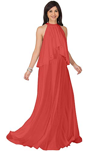 KOH KOH Plus Size Womens Long Sleeveless Halter Neck Flowy Bridesmaid Bridal Cocktail Spring Summer Beach Wedding Party Guest Floor-Length Gown Gowns Maxi Dress Dresses, Bright Coral Red 2XL 18-20
