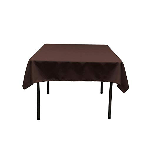 Morlan Linens Tablecloth Square Round Tables - 100% Polyester - Restaurant Quality - Great Buffet Tables, Parties, Holiday Dinners, Weddings & More - Brown, 62 x 62 inches