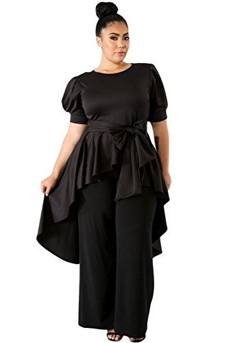 Dean Fast Plus Size Round Neck Puff Short Sleeve Empire Waist Top Black XL ()