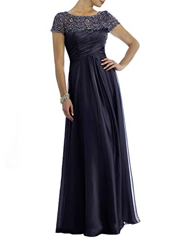 CLOTHSURE Cap Sleeve Chiffon Mother of The Bride Dresses with Rhinestones Wedding Maxi Dress Formal Gowns Navy - Cap Bride Rhinestone