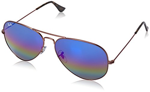 Ban Blue para Large Ray Hombre sol Flash Marrón Aviator de Gafas Rainbow Metal d0E4qw