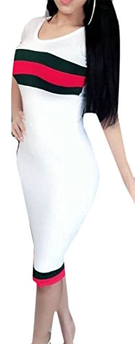 Dress Crewneck Striped Bodycon White Short Vogue Women's Sleeve Cromoncent Midi nX8xqfAwng