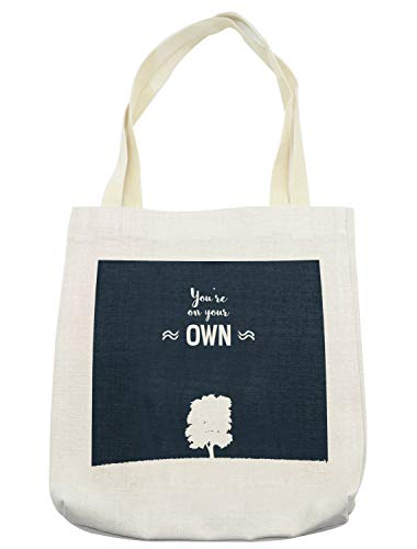 Lunarable Success Tote Bag, You are on Your Own Writing with Tree on Grass Hill Solitude Graphic, Cloth Linen Reusable Bag for Shopping Books Beach and More, 16.5
