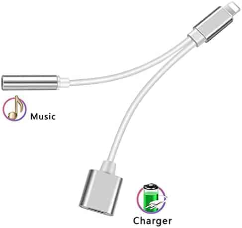 Headphone Adapter for iPhone 3.5mm Jack Headset Charge 2 in 1 Converter Connector Cable Headset Adaptor Splitter Dongle Aux Audio Compatible with iPhone 7/Plus/8/Plus/X/XS for iOS 10.3 or Above
