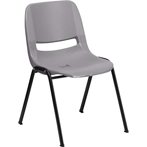 Offex Ergonomic Injection Molded Plastic Shell Stack Chair - Gray ()
