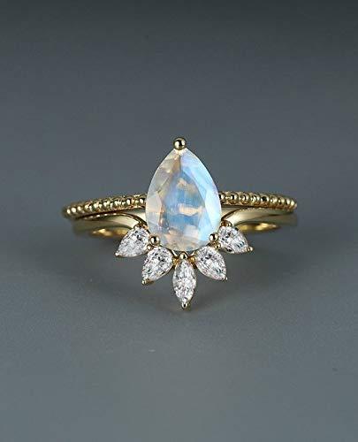 Amazon Com 6x8mm Pear Shaped Cut Natural Moonstone Engagement Ring