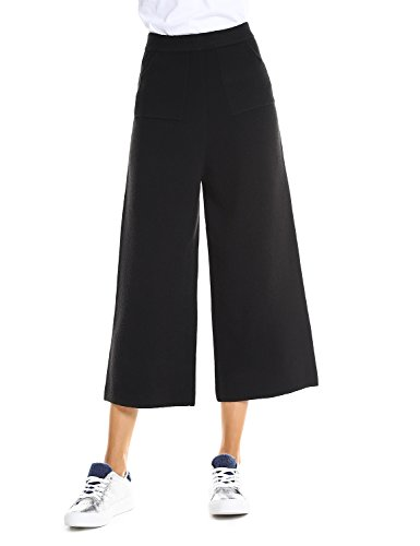ZAN.STYLE Women Solid Cropped Pants Black Elastic Waist Wide Leg Culottes Palazzo Pants With Pockets (Womens Culotte)