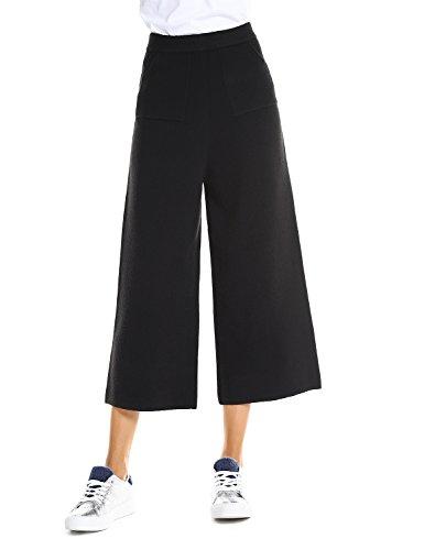 ZAN.STYLE Women Solid Cropped Pants Black Elastic Waist Wide Leg Culottes Palazzo Pants With Pockets (Waist Wide Leg Pants)