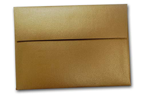 Premium Shimmery Metallic A-2 Square Flap Envelopes - Great for Notecards, Letters, Invitations, Thank You Cards, RSVP, Details Card, Etc. (Antique Gold, 250 ()