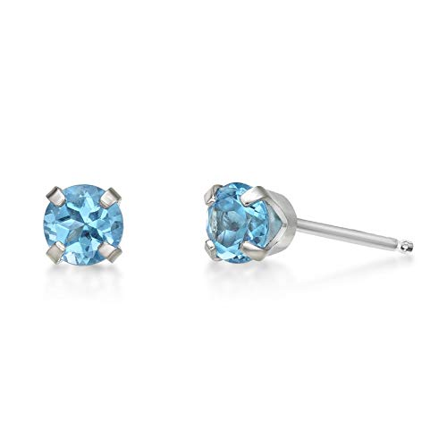14k White Gold Blue Topaz Earrings - .60 CT Round 4MM Blue Topaz 14K White Gold Stud Birthstone Earrings