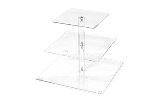 Love Events 3-Tier Acrylic Square Cupcake Stand Dessert Tower Stand Wedding, Thanksgiving, Christmas and Party Ready 9