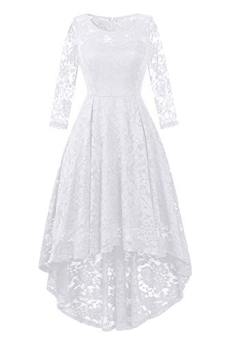 BBX Lephsnt Womens Lace Cocktail Dress Elegant Floral Sleeveless Swing High Low Formal Prom Dress - Floral Lace Sleeveless Dress