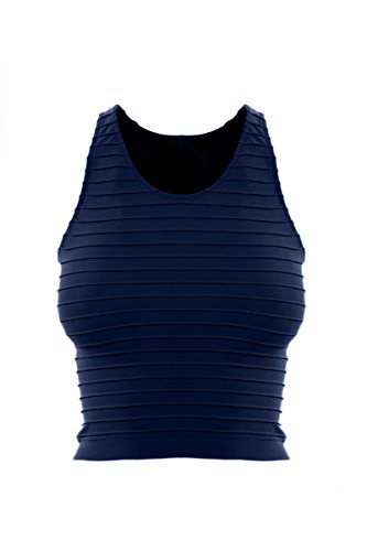 Sugar Lips Seamless Ribbed Cropped Tank - Navy (Lips Sugar Ribbed)