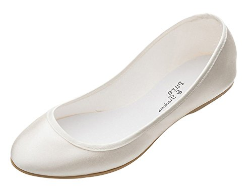 Ivory Bridal Bridesmaids Flower Girl Ladies Pumps Flats Shoes Style Lucy All Sizes By Pure and Precious
